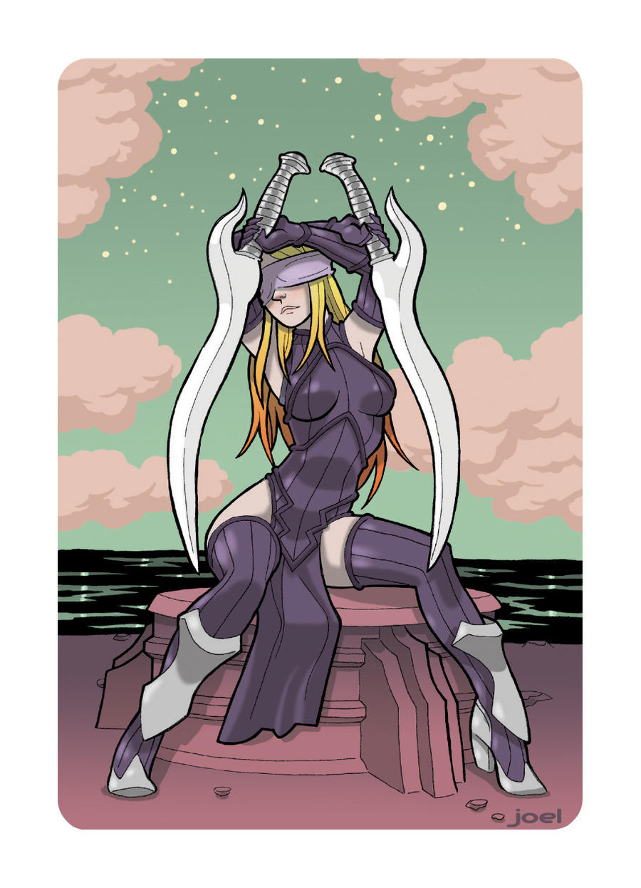 Super Punch Tarot Two of Sword by JoelRCarroll