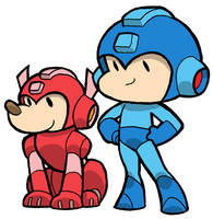 Little MegaMan and Rush by JoelRCarroll