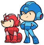 Little MegaMan and Rush