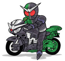 Kamen Rider W and their Hardboiler by JoelRCarroll
