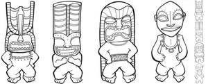 Four Tiki Gods