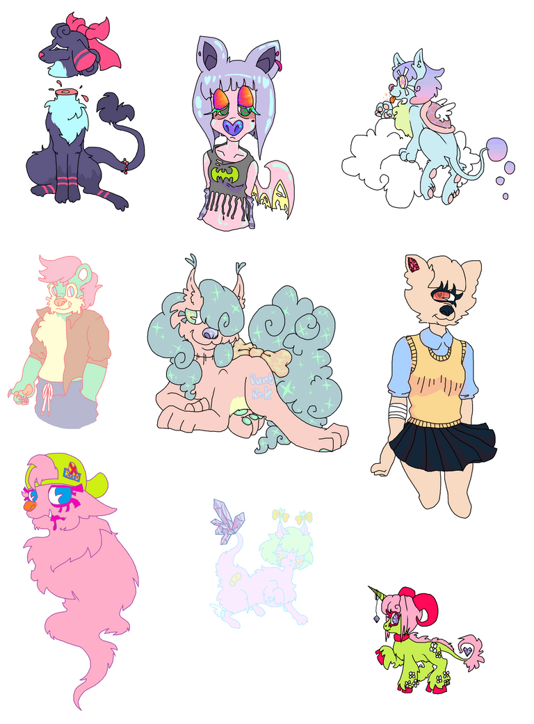 OTA Pastel Furry Lot [OPEN] by Mashi-Adopts