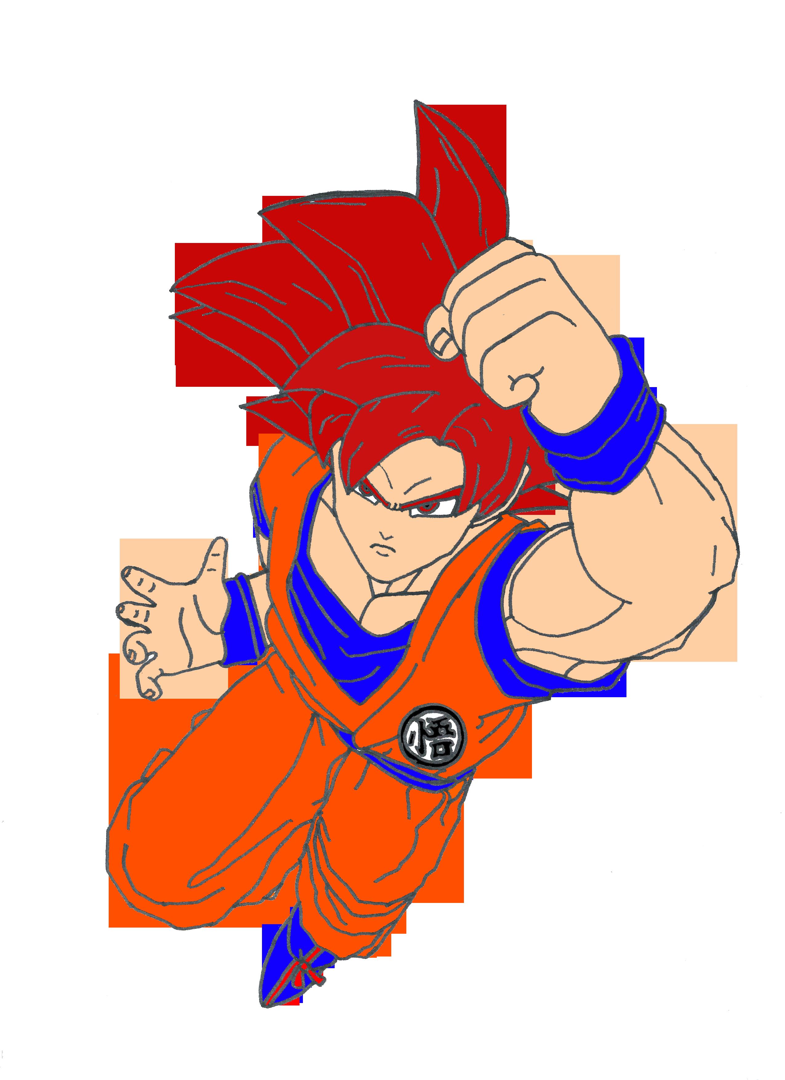 Goku Super Saiyan God Drawings Goku Super Saiyan...2550