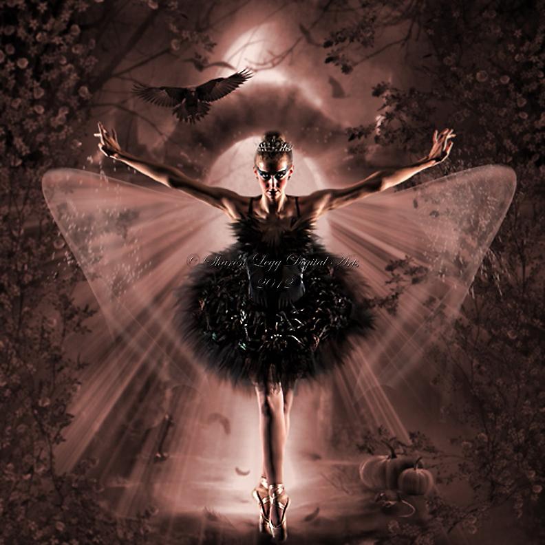 Black Swan Halloween Transformation by SharonLeggDigitalArt