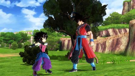 Xeno Goku and Xeno Caulifla 1 by tyleralexander123