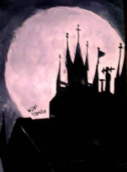 Still wet gothic castle