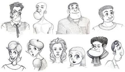 Sketchdump - Caricatures (set 1) by ah-kaziya