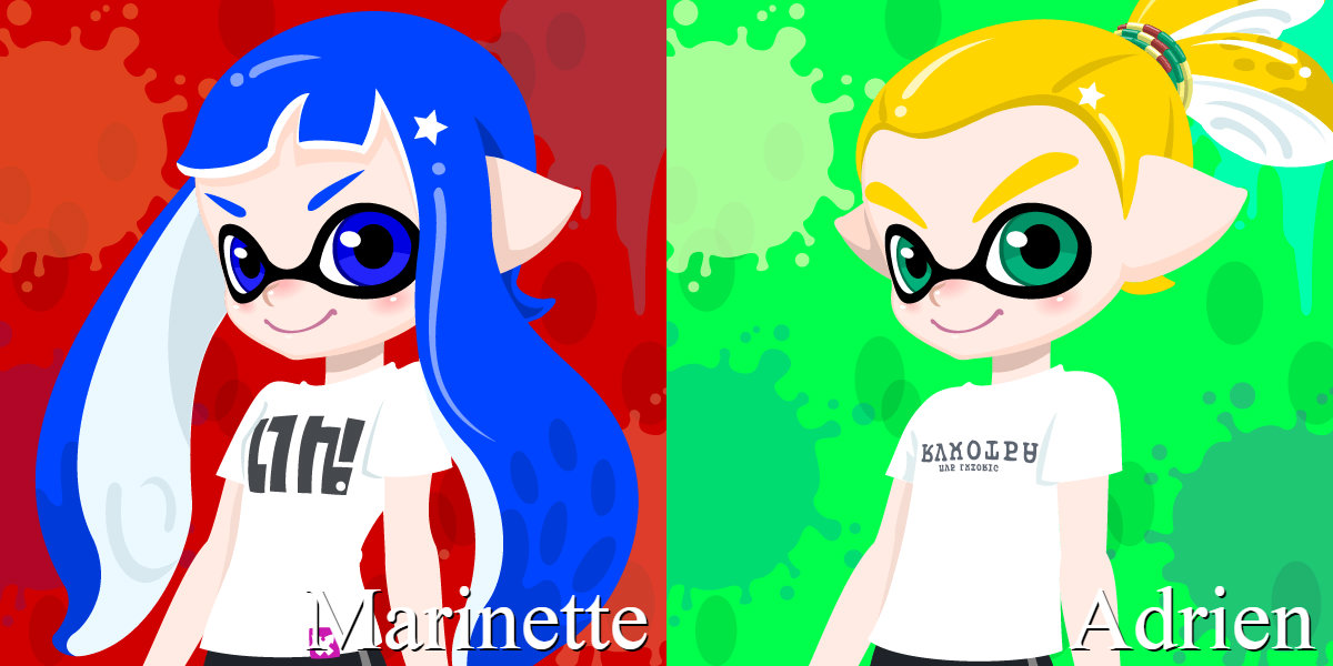 Marinette and Adrien in style of Splatoon by Ernesto666