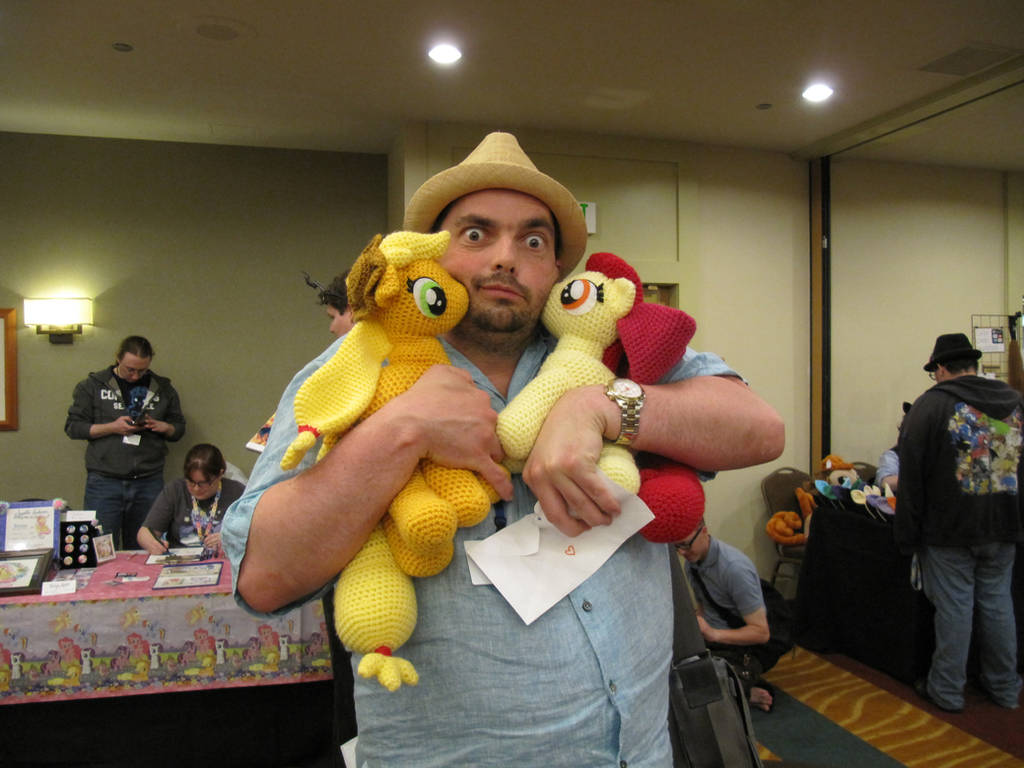 Peter New with Applejack and Apple Bloom by NerdyKnitterDesigns