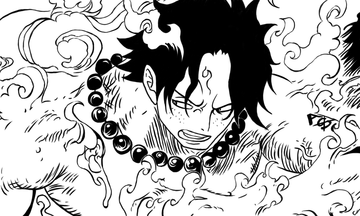 One Piece Lineart : Portgas d. ace by cromarlimo on deviantart