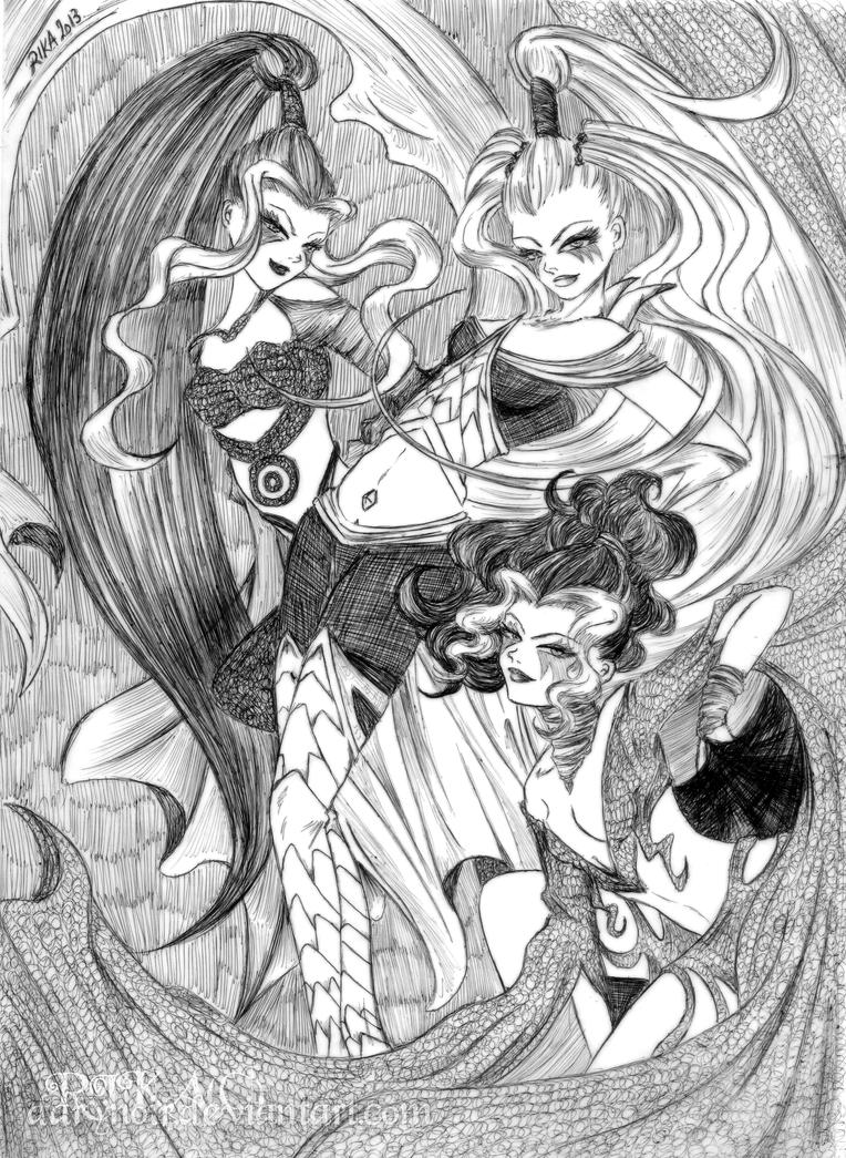 The Trix Sisters: Bic pen, speeddrawing by darynoir