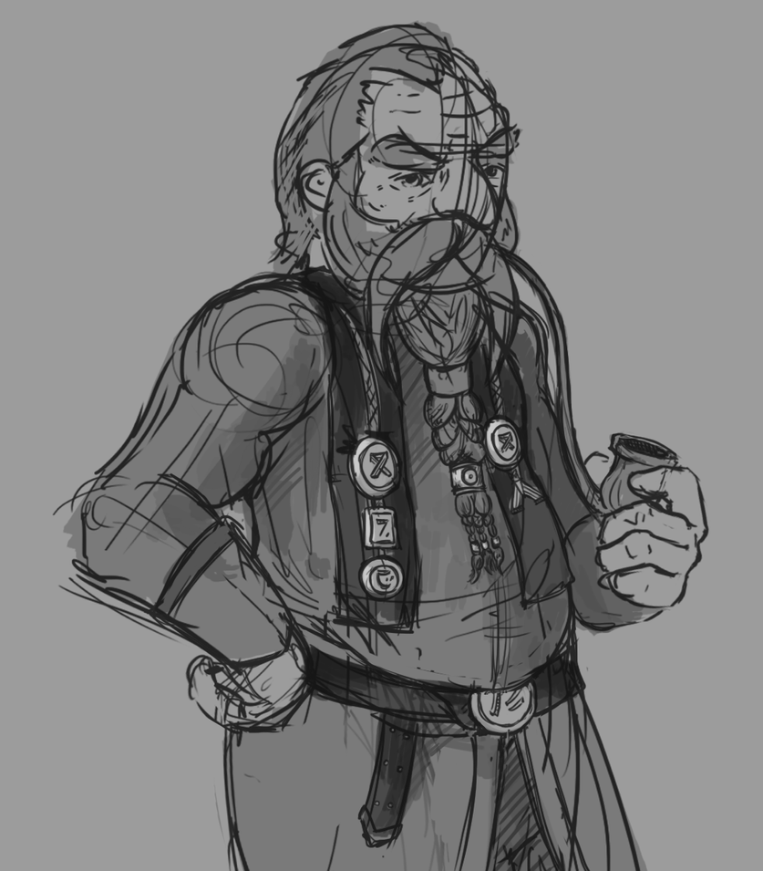 Dwarf Sketch Study by Adoron