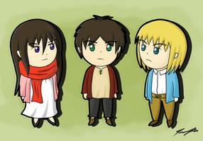 Chibi Eren, Mikasa and Armin [RE-POST] by ppeach444
