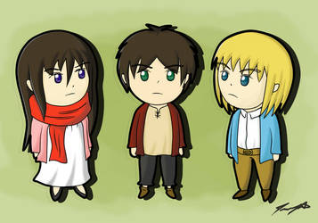 Chibi Eren, Mikasa and Armin [RE-POST] by ppeach444