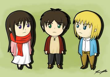 Chibi Eren, Mikasa and Armin [RE-POST]