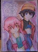 Mirai Nikki - Amano Yukiteru and Gasai Yuno by ppeach444