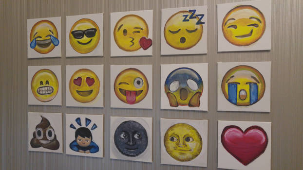 Emojis (Acrylic on Canvas) by ppeach444