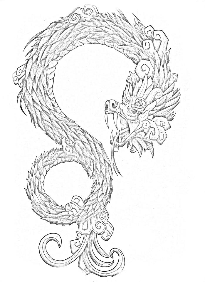 Serpiente emplumada para colorear JPG by GianFerdinand on DeviantArt
