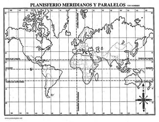 Mapa mundial blanco y negro paralelos y meridianos