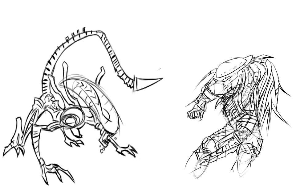 alien vs predator sketch by armaworks on deviantart
