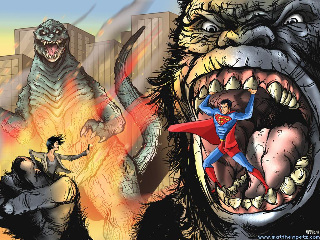 rex vs triceratops by almightyrayzilla superman vs godzilla vs kingGodzilla Vs King Kong 2014