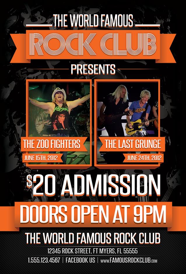 Rock Club Music Venue Band Flyer Design by xstortionist on DeviantArt