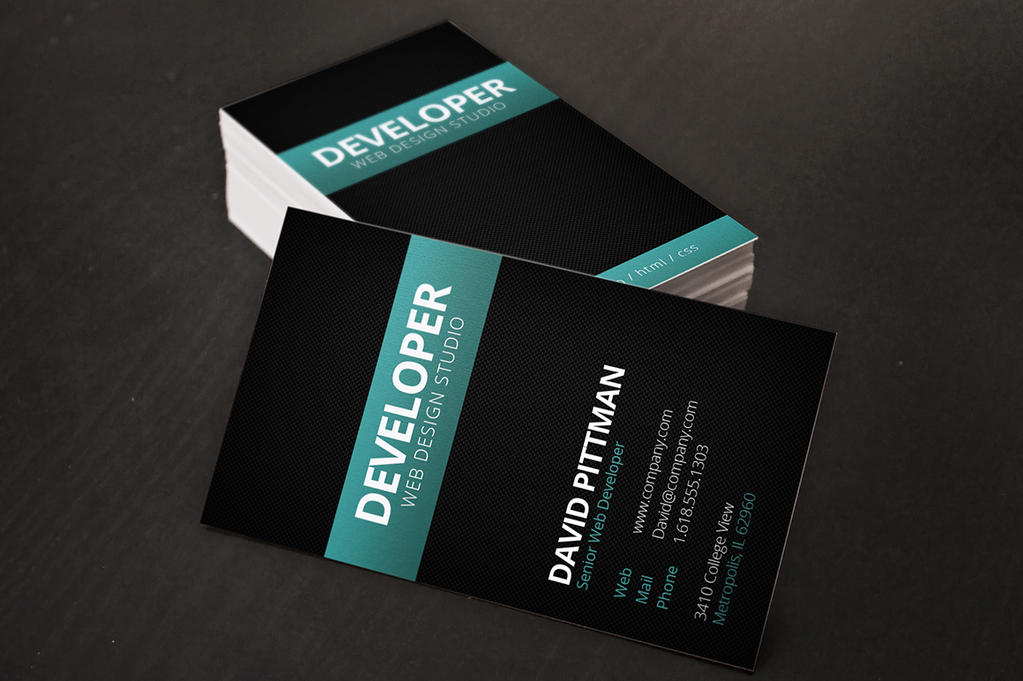 Carbon Fiber Business Card Template by xstortionist on