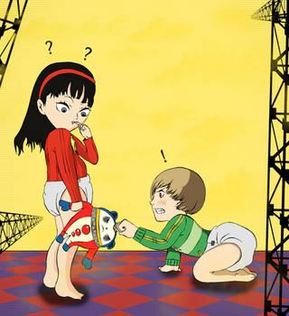 Persona 4 Yukiko and Chie Age Regression by Thirdsync