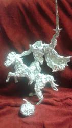 Headless Horseman - Aluminum Foil Sculpture by TheFoilGuy
