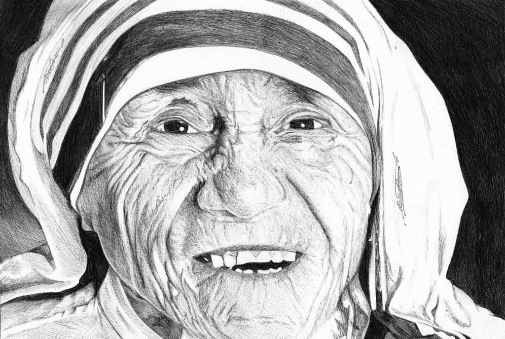 Mother teresa ballpoint pen drawing by demoose21