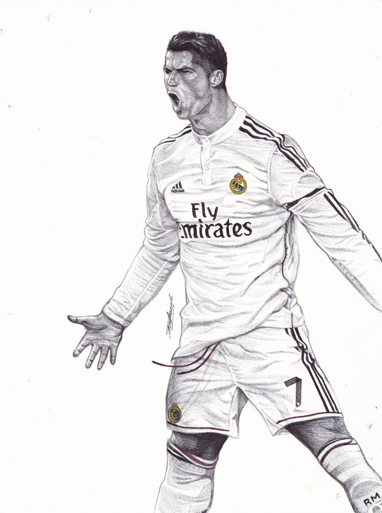 Cristiano ronaldo ballpoint pen drawing by demoose21
