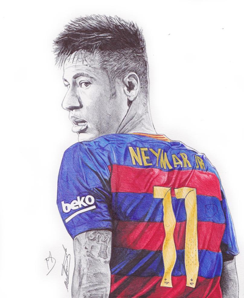 Neymar Jr Ballpoint Pen Drawing by demoose21 on DeviantArt