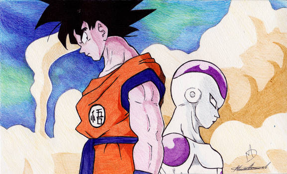 Goku vs Frieza Ballpoint Pen Drawing