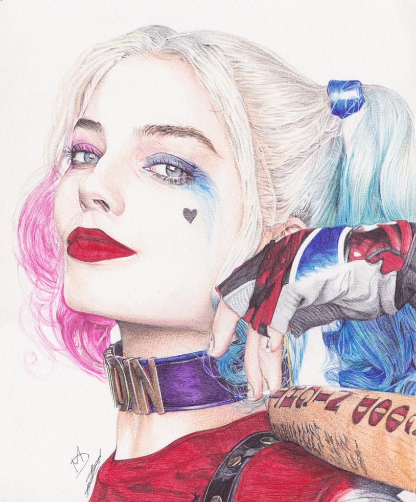 Harley Quinn Drawing: Harley Quinn Ballpoint Pen Drawing By Demoose21 On DeviantArt