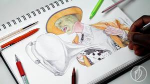The Mask Ballpoint Pen Drawing - DeMoose Art