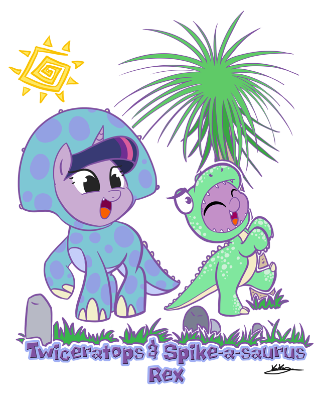 Twiceratops and Spikeasaurus Rex Commish by bunnimation