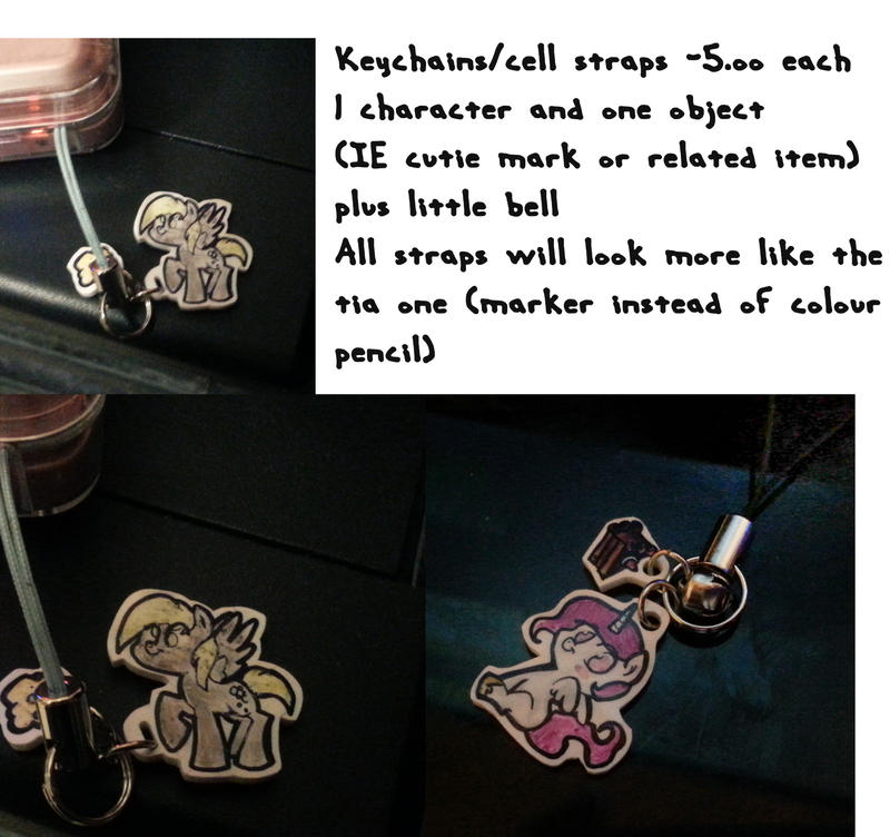 MLP Keychains/ Cell straps FOR SALE by bunnimation