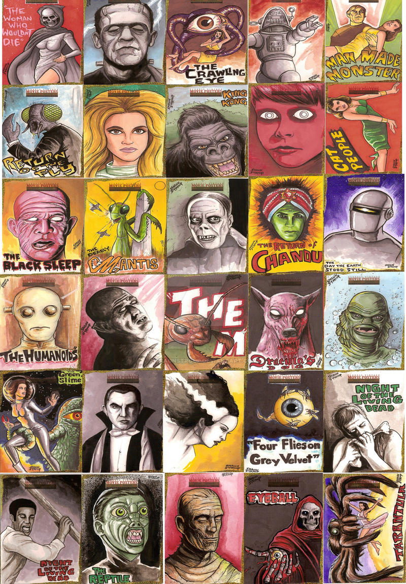 Horror Sci-fi Sketch Cards by ShaunStroup
