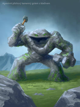 Aggressive mold stone golem with a hammer