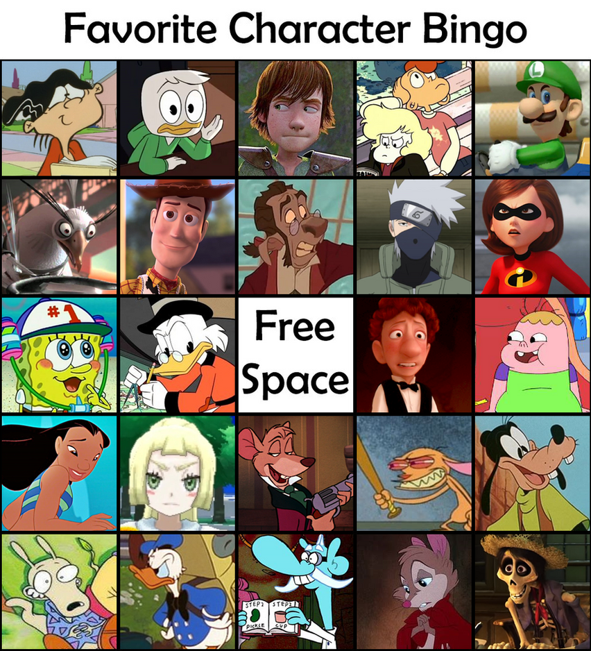 Fav Character Bingo by little-ampharos