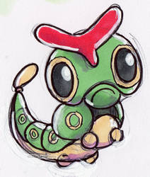 #010 Caterpie by little-ampharos