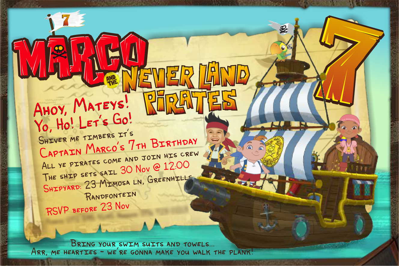 Jake and the Never Land Pirates invite by Guss7777 on DeviantArt