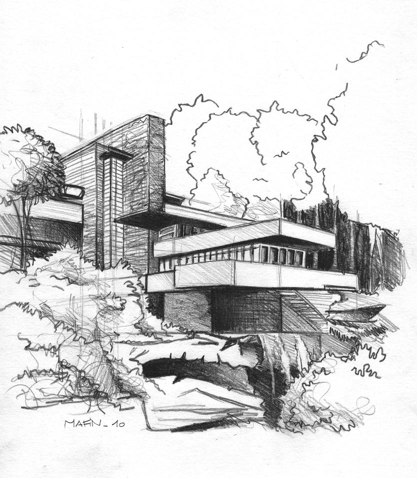 Frank lloyd wright falling water sketch sketch coloring page for Frank lloyd wright coloring pages