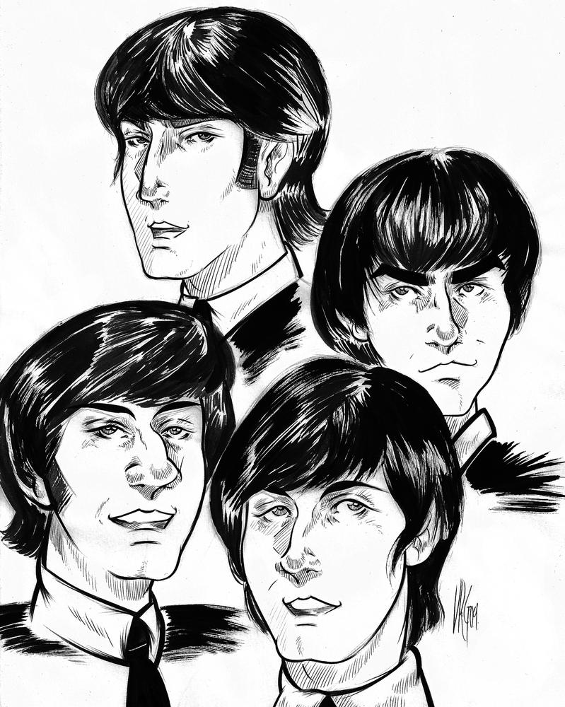 how to draw the beatles easy
