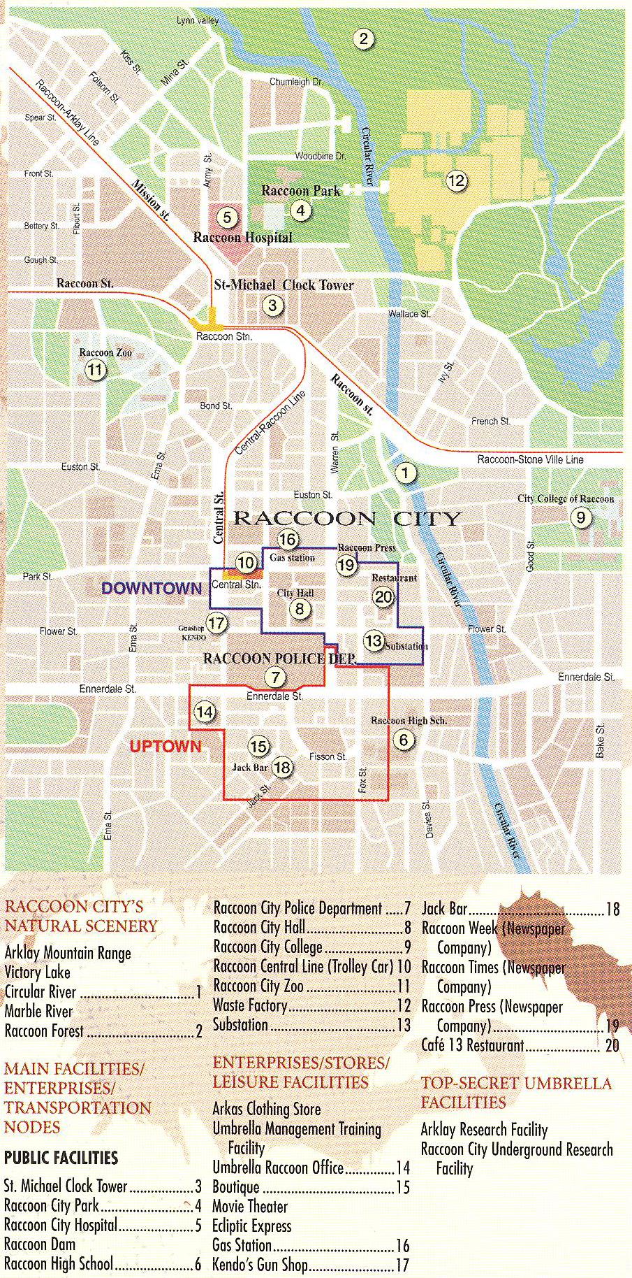 Raccoon City Maps