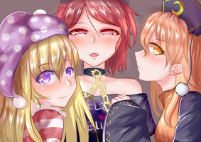 Hecatia X Junko X Clowpiece by Drthumt