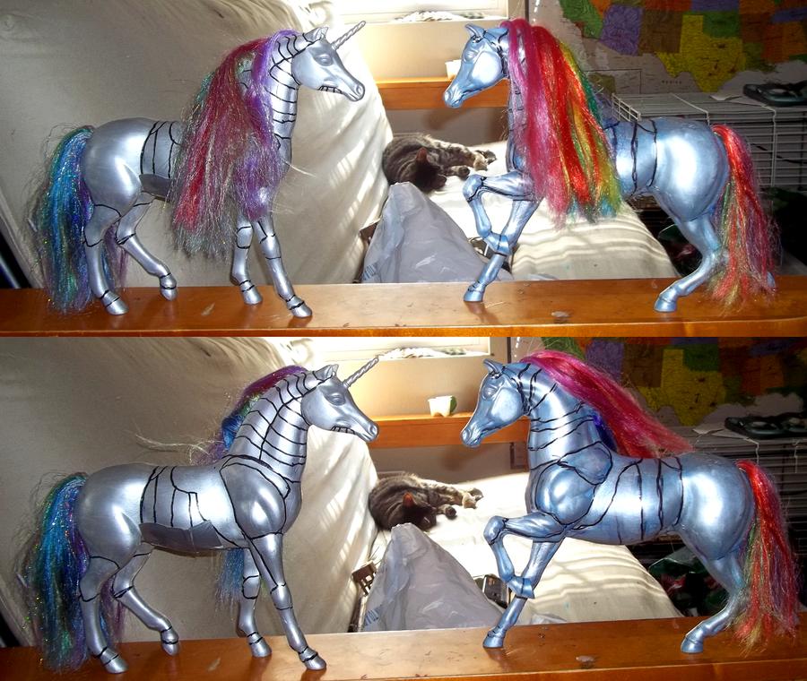 Robot Unicorn Customs by CynderMizuki