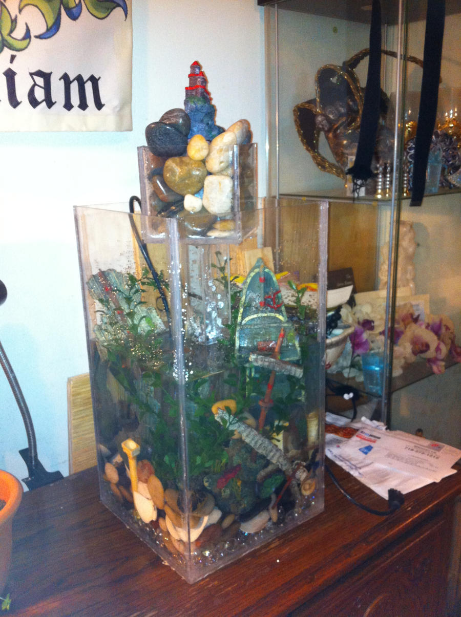 Vertical fish tank with water feature by tahirbrown on for Vertical fish tank