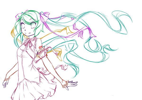 Hatsune Miku Lolita Sketch by rika-dono