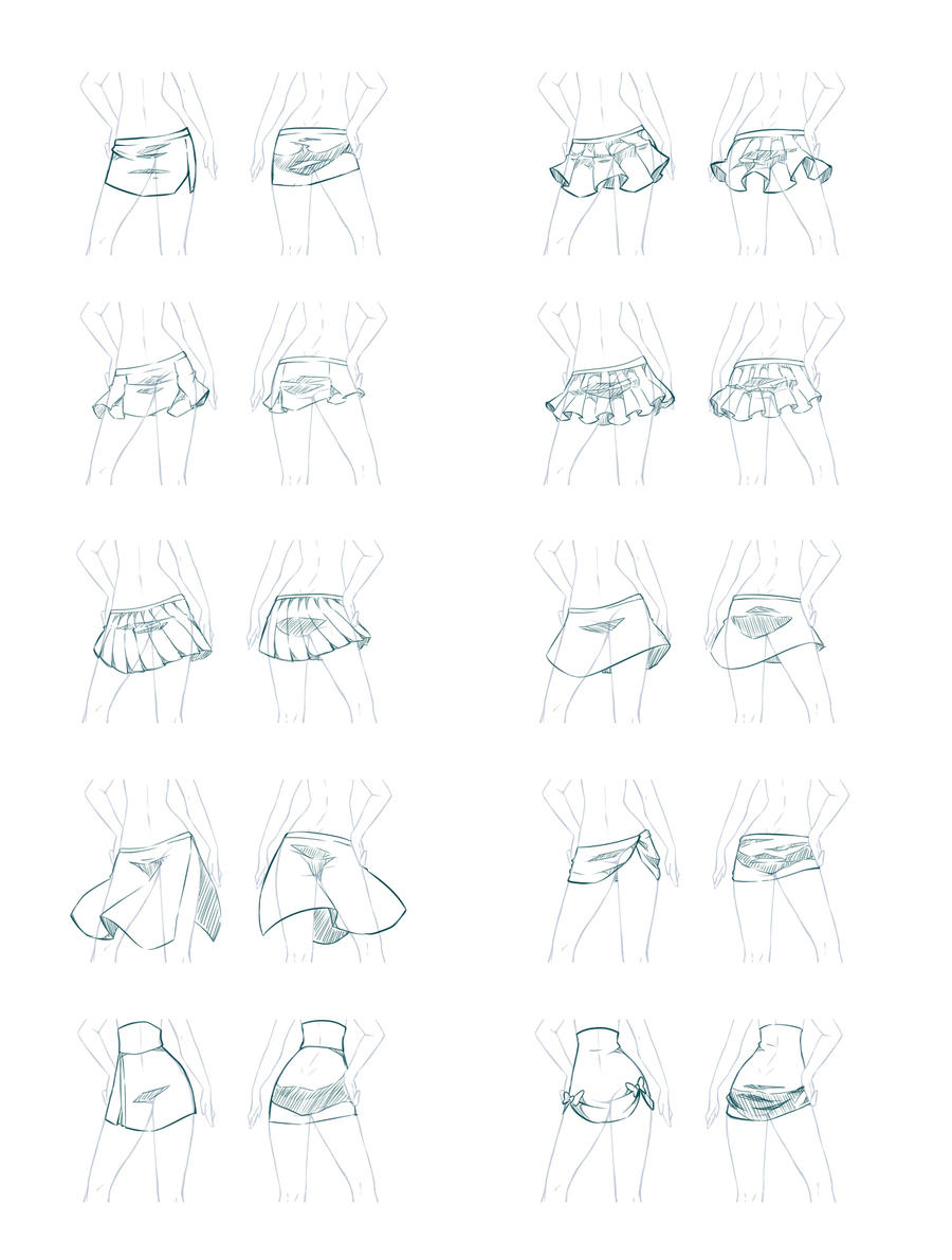 how to draw anime clothes skirt